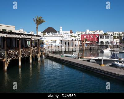 Restaurants around Marina Rubicon, Playa Blanca, Lanzarote - Stock Photo