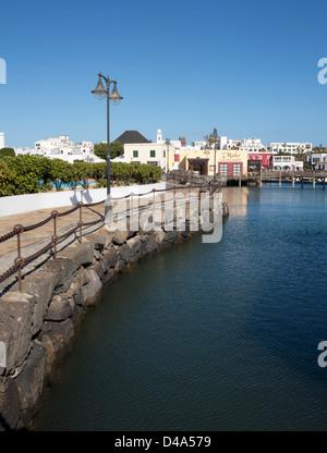 Path around Marina Rubicon, Playa Blanca, Lanzarote - Stock Photo