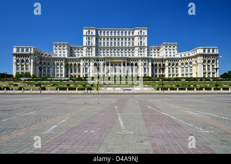 The Palace of the Parliament, the second largest building in the world, built by dictator Ceausescu - Stock Photo