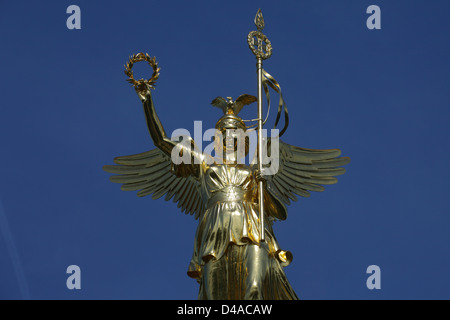 Berlin, Germany, the new gilded Victoria on the Victory Column - Stock Photo