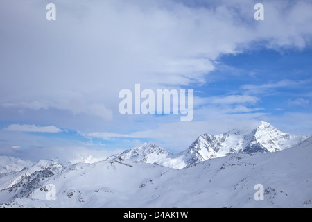Mont Blanc Massif, from La Plagne, French Alps, Savoie, France, Europe - Stock Photo