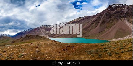 lake Chandra Taal Spiti Valley, Himachal Pradesh, India - Stock Photo