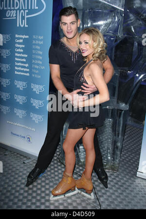 MATT LAPINSKAS & BRIANNE DELCOURT CELEBRATIES ON ICE PHOTOCALL FOR UPCOMING TOUR ICE BAR BY ICEHOTEL LONDON ENGLAND - Stock Photo