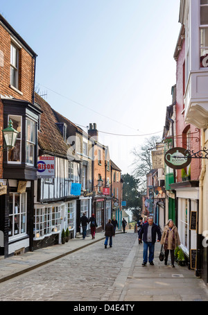 The famous Steep Hill in the historic old town, Lincoln, Lincolnshire, East Midlands, UK - Stock Photo