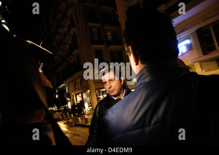 Thessaloniki, Greece. 12th March 2013. Arson attack with gas canisters in the offices of New Democracy MPs. Conservative - Stock Photo