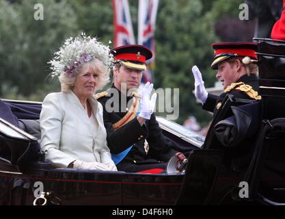Prince William, Prince Harry (R) and Camilla, Duchess of Cornwall are pictured at the 2008 Trooping the Colour parade - Stock Photo