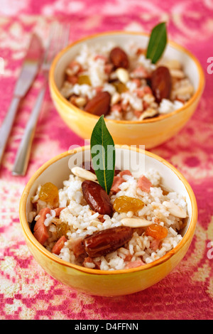Paradise rice (with dates) Recipe available. - Stock Photo