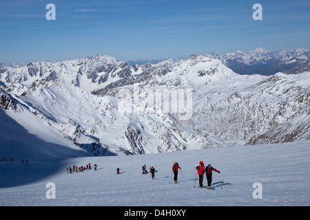 Ski touring in the Alps, ascent to Punta San Matteo, on the border of Lombardia and Trentino-Alto Adige, Italy - Stock Photo