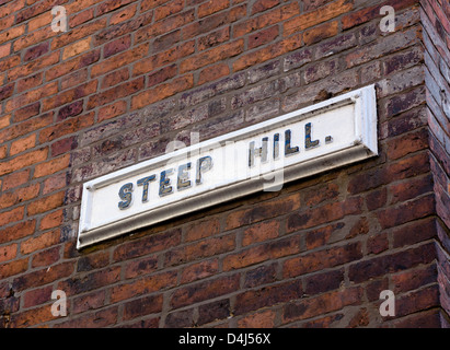 Street sign for the famous Steep Hill in the historic old town, Lincoln, Lincolnshire, East Midlands, UK - Stock Photo