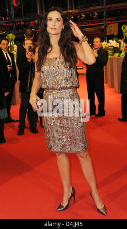 US-actress Demi Moore arrives for the premiere of the film ?Happy Tears? at the 59th Berlin International Film Festival - Stock Photo