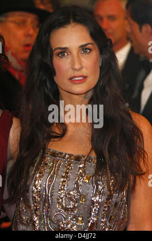 US-actress Demi Moore arrives for the premiere of ?Happy Tears? during the 59th Berlin International Film Festival - Stock Photo
