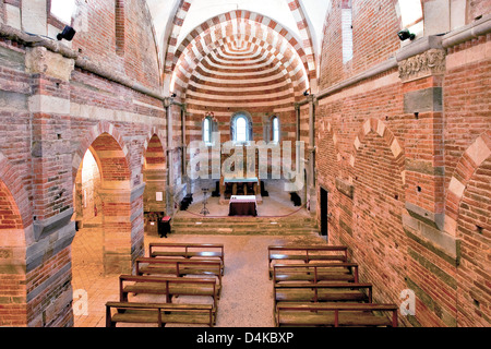Italy Piedmont  Albugnano Abbazia Santa Maria di Vezzolano church - Stock Photo