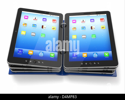 Opened book or folder from tablet pc.3d - Stock Photo