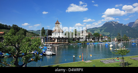 Switzerland, Canton Bern, Spiez at Thun Lake - Stock Photo