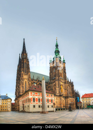 St. Vitus Cathedral in Prague in Prague early in the morning - Stock Photo
