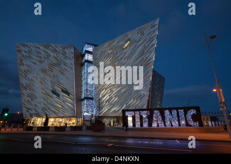 An evening view of the Titanic museum in Belfast. - Stock Photo