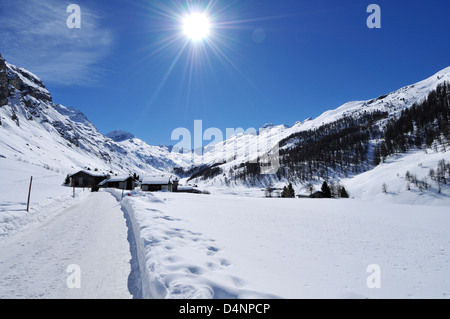 Winter Landscape, Curtins, Val Fex, Engadine, Graubünden, Switzerland - Stock Photo