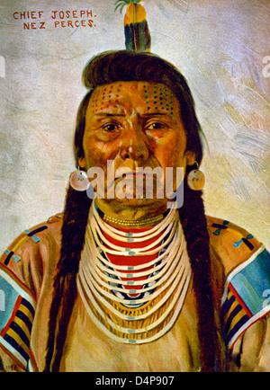 Chief Joseph, Nez Percé chief, head-and-shoulders portrait, facing front, circa 1899 - Stock Photo