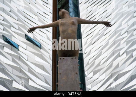 Rowan Gillespie's sculpture Titanica in front of the Titanic museum in Belfast. - Stock Photo