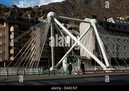 Suspension bridge Pont de Paris crossing the river Gran Valira, Andorra La Vella, Principality of Andorra - Stock Photo