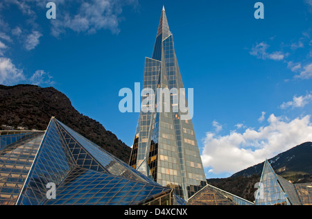 Glass pyramid of the Thermal Spa Centre Caldea, thermoludic centre, Escaldes-Engordany, Andorra la Vella,  Andorra - Stock Photo