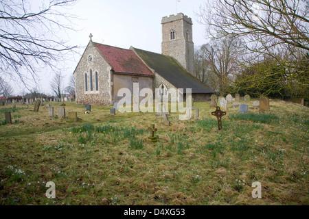 St Margaret's church in foggy weather, Shottisham, Suffolk, England - Stock Photo