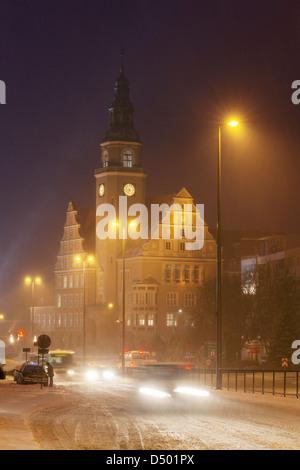 Snowy city at night, Olsztyn, Warmia, Poland - Stock Photo