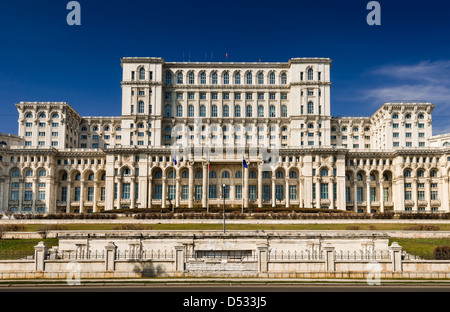 The Palace of the Parliament, the second largest building in the world, built by dictator Ceausescu in Bucharest, - Stock Photo