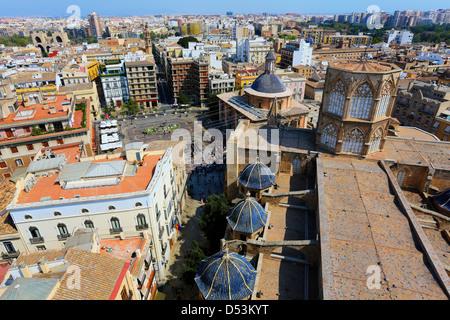 Aerial view of the Plaza de la Reina in Valencia, Spain. - Stock Photo