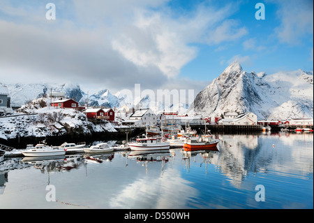 Boats in the harbour at Hamnoy on the Lofoten Islands, Norway - Stock Photo
