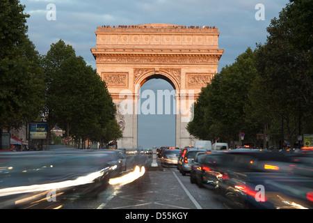Arc de Triomphe in Paris - seen from Avenue de la Grande-Armée; The Arch of Triumph - Stock Photo