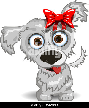 illustration, a merry little dog with a red bow - Stock Photo
