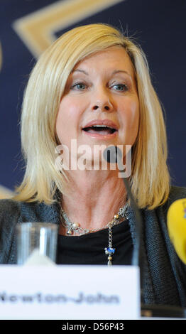 English-born singer and actress Olivia Newton-John pictured during a press conference in Karlsruhe, Germany, 18 - Stock Photo