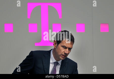 Deutsche Telekom CEO Rene Obermann arrives for the German telecommunication giant's general meeting in Cologne, - Stock Photo