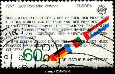 GERMANY - CIRCA 1982: A stamp printed in German Federal Republic shows Text from Treaties of Rome, 25th Anniversary, - Stock Photo