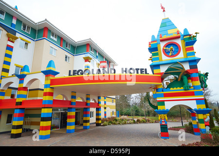 Entrance to the Legoland Hotel Windsor UK - Stock Photo