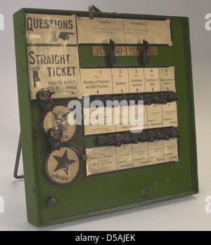 New York State Demonstration Voting Machine, ca. 1900 - Stock Photo