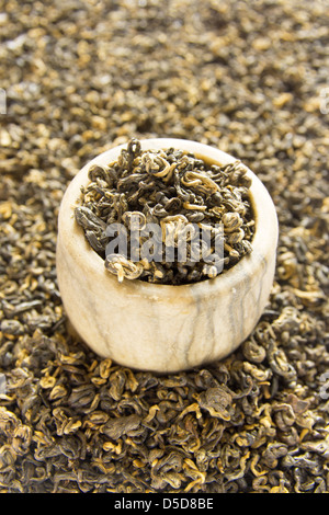 Green tea background close up. - Stock Photo