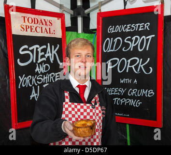 The City of York, Yorkshire.  29th March, 2013. Oliver Edhouse, 18 from Halifax from the Crusty Pie Company at the - Stock Photo
