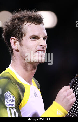 March 29, 2013 - Miami, Florida, U.S - Andy Murray of Great Britain celebrates winning his match against Richard - Stock Photo