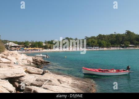 Thassos Greece Greek island September The west beach at Alyki or Aliki - Stock Photo