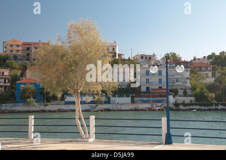 Thassos Greece Greek island September The harbour Skala Marion - Stock Photo