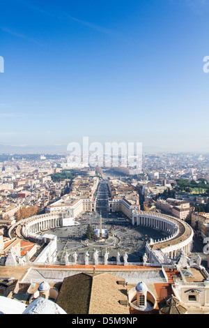 View of Saint Peter's Square from the Dome of Basilica of Saint Peter. - Stock Photo