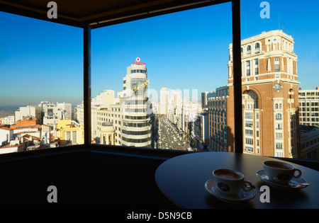 Gran Via avenue viewed from the 'El Corte Ingles' restaurant. Madrid. Spain - Stock Photo