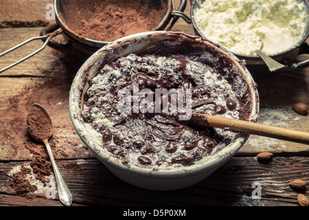 Milk powder and cocoa are the basic ingredients of chocolate - Stock Photo