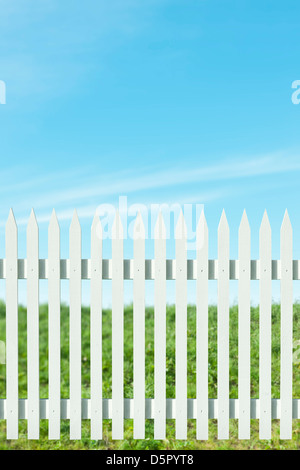 Newly painted white picket fence on a sunny day - Stock Photo