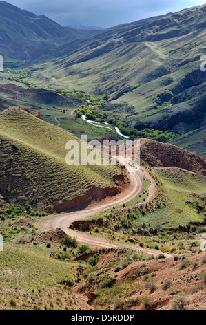 Road in valley, Asy river canyon, Kazakhstan - Stock Photo