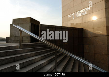 Stairs and handrail, London Bridge in the city of London. Architectural detail of city building, London, England, - Stock Photo