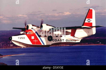 Coast Guard Grumman HU-16E 'Albatross' from USCG Air Station Cape Cod, Massachusetts. - Stock Photo