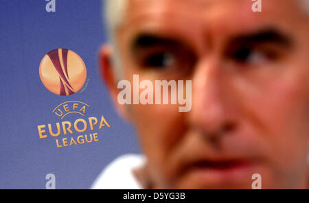 Hannover's head coach Mirko Slomka speaks at a press conference on the Europa League group L soccer match  between - Stock Photo